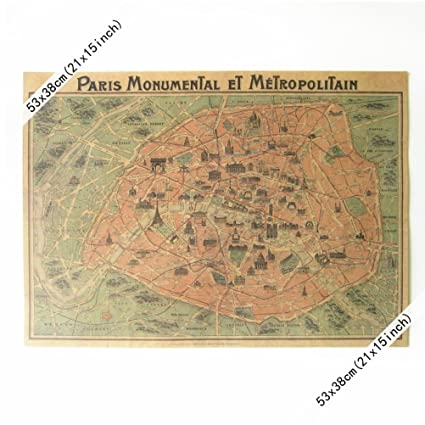 Amazon Com Old France Paris Map Vintage Wall Paper Poster 21 X 15
