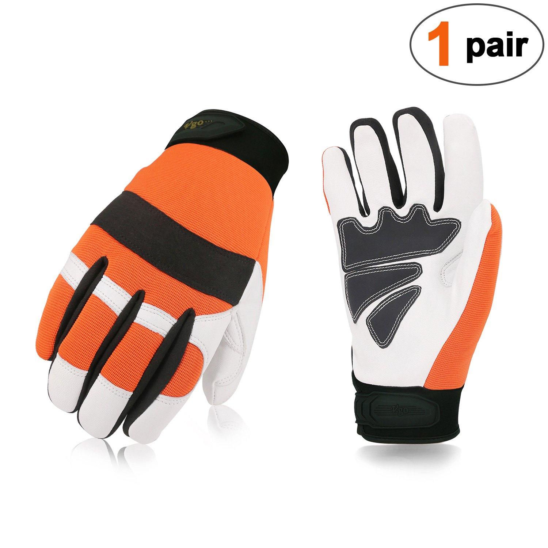 Vgo。。。チェーンソー保護手袋(オレンジ色、サイズ9 /Lと10 /XL) B0761MK6QP X-Large|オレンジ オレンジ X-Large