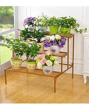 QianDa Estantería de Flores Sujetador de Flores de Hierro Escalera de Varios Pisos Potenciómetro de Flores Estantería al Aire Libre Pasamanos de Flores para ...