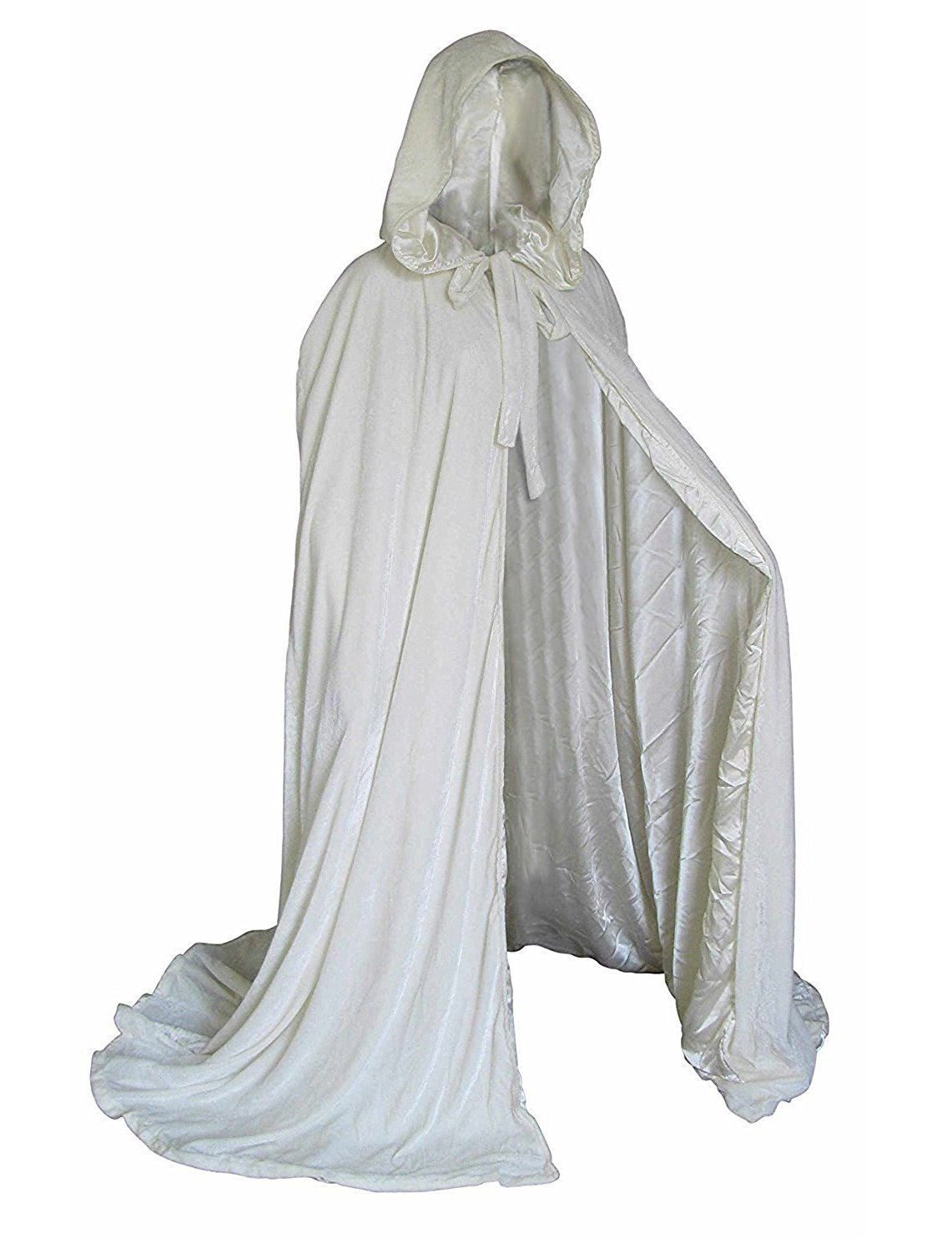 BuyBro White Wedding Cape Velvet Cloaks with Hood Costumes Cosplay Robes Capes Medium