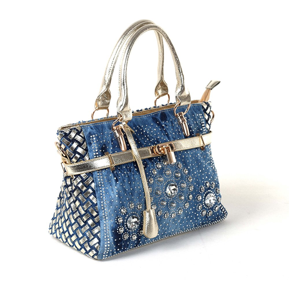 597c4af598 Amazon.com  New Arrival Diamond Embroidered Denim Top Handle Bag Tote