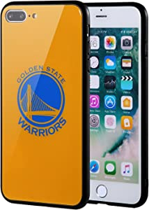 The Mass iPhone 8 Plus case, iPhone 7 Plus case, NBA Team Logo on Tempered Glass Back Cover and Soft TPU Frame for iPhone 8 Plus/7 Plus (Golden State Warriors)