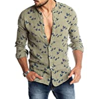 Hirate Men's Duck Printed Shirts Casual Long Sleeve Slim Fit Button Placket Korean Cut Collar Male Shirts