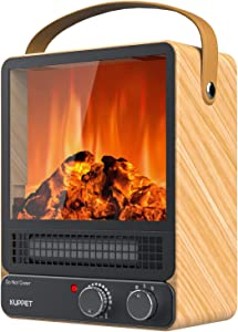 KUPPET Space Heater, Energy Efficient Indoor Electric Fireplace Heater with Realistic Flame Effect 750W/1500W, Overheating Safety Protection, 2 Heating Powers, for Office & Bedroom & Living Room