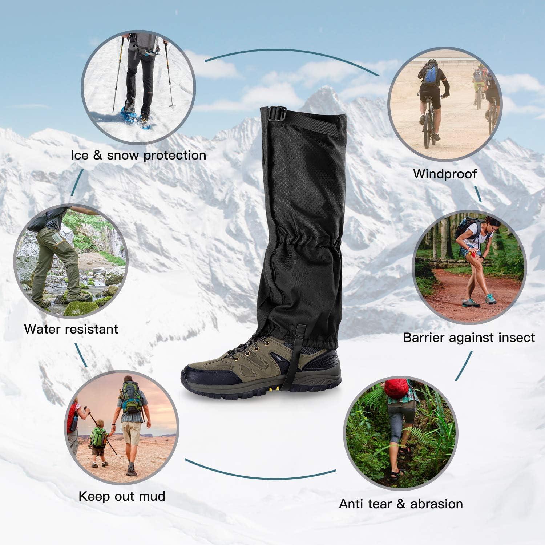 Unigear Ghette Impermeabili Arrampicata Ghette Trekking con Doppia Chiusura a Cerniera Sigillata per Esterno Camminata Aaccia Campeggio Escursionismo
