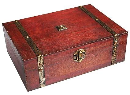 WaaHome Cofre del Tesoro Pirata para Almacenamiento, Tesoro Caja de madera para regalos