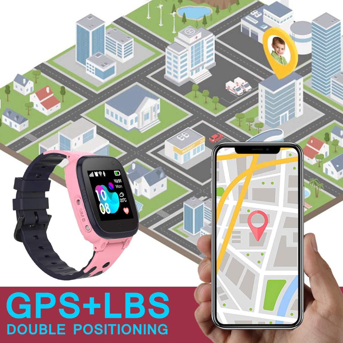 Kids Smart Watch Phone Waterproof with GPS Tracker SOS Anti-Lost Watch Touch Screen Camera Smart Watch for 3-12 Years Old Boys Girls (Pink) by SUNNY1 (Image #3)