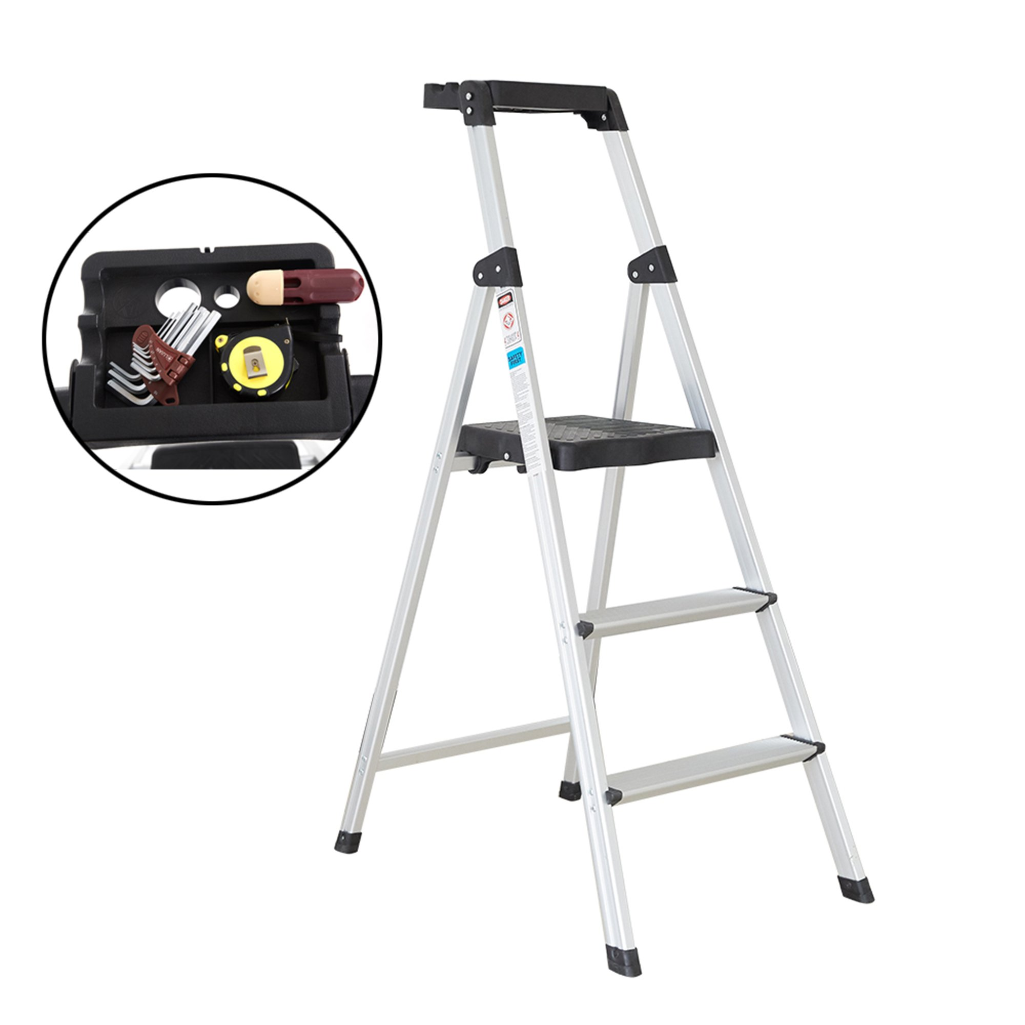 Lucky Tree 3 Step Ladder Aluminum with Tool Project Tray Lightweight Folding Stool with Wide Pedal Anti-Slip Household Stepladders, 330 lbs Capacity
