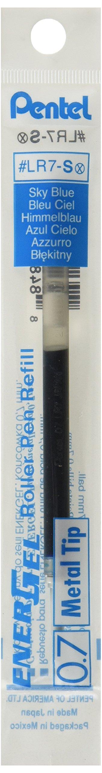 Pentel Refill for EnerGel Gel Pens, 0.7mm Metal Tip, Sky...