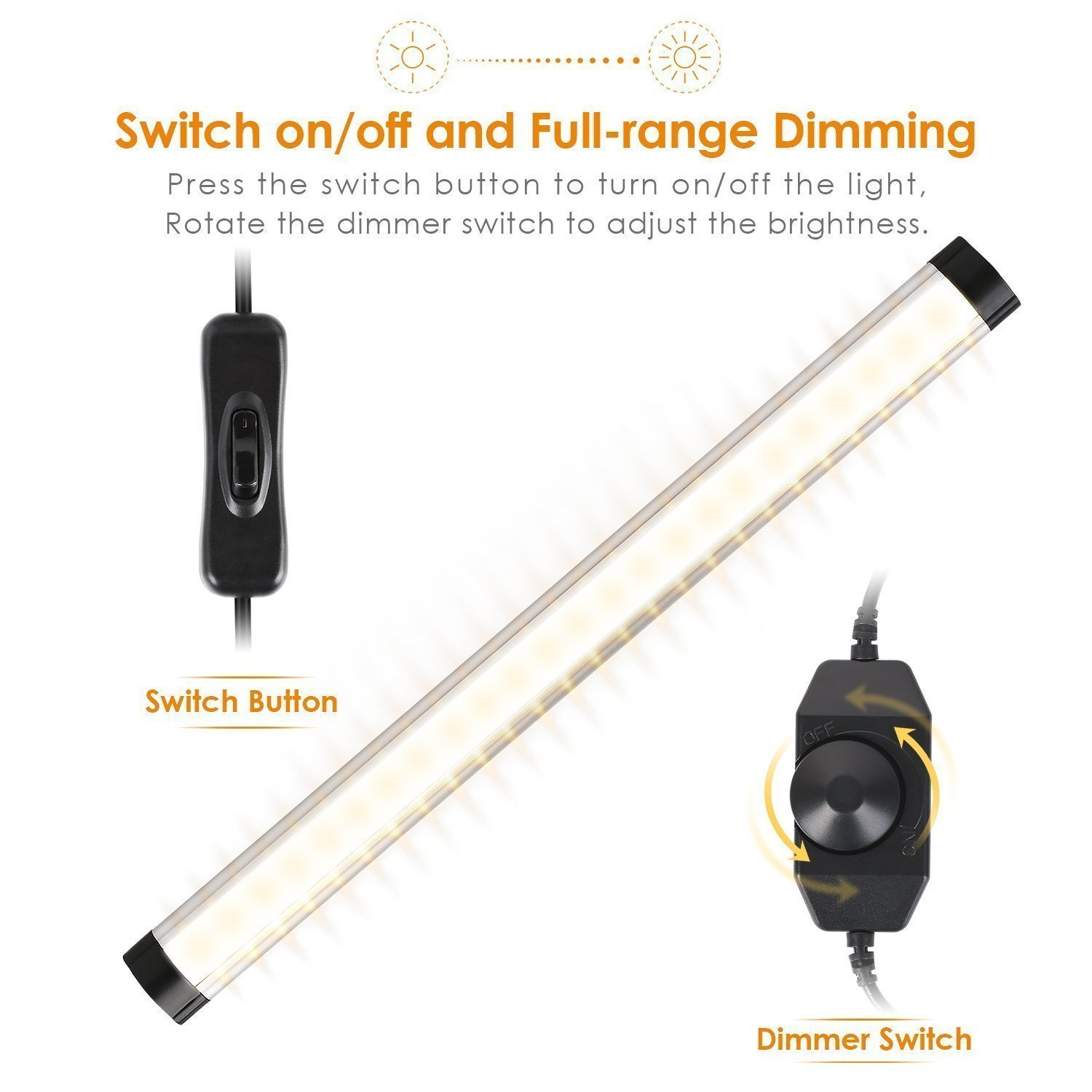 albrillo led under cabinet lighting dimmable warm white 12w 900