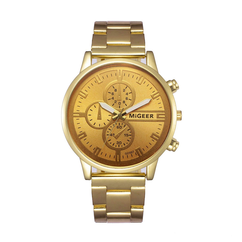 Amazon.com : freedomer Watch Men Luxury Steel Business Clock Gold Watches Mens Watch Relogio Masculino De Luxo Classic Vintage Reloj Hombre(Gold, ...
