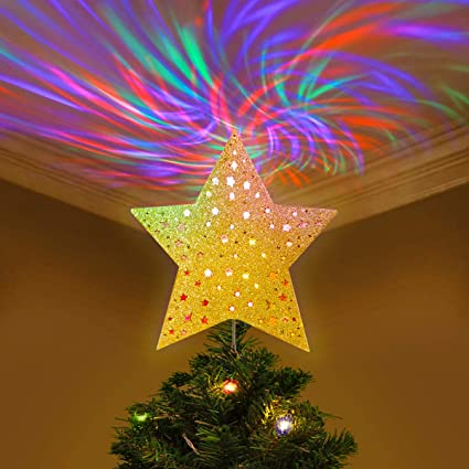 YUNLIGHTS Christmas Tree Topper Lighted Star Tree Topper with Wave  Projector Lights, Christmas Decorations, - Amazon.com: YUNLIGHTS Christmas Tree Topper Lighted Star Tree Topper