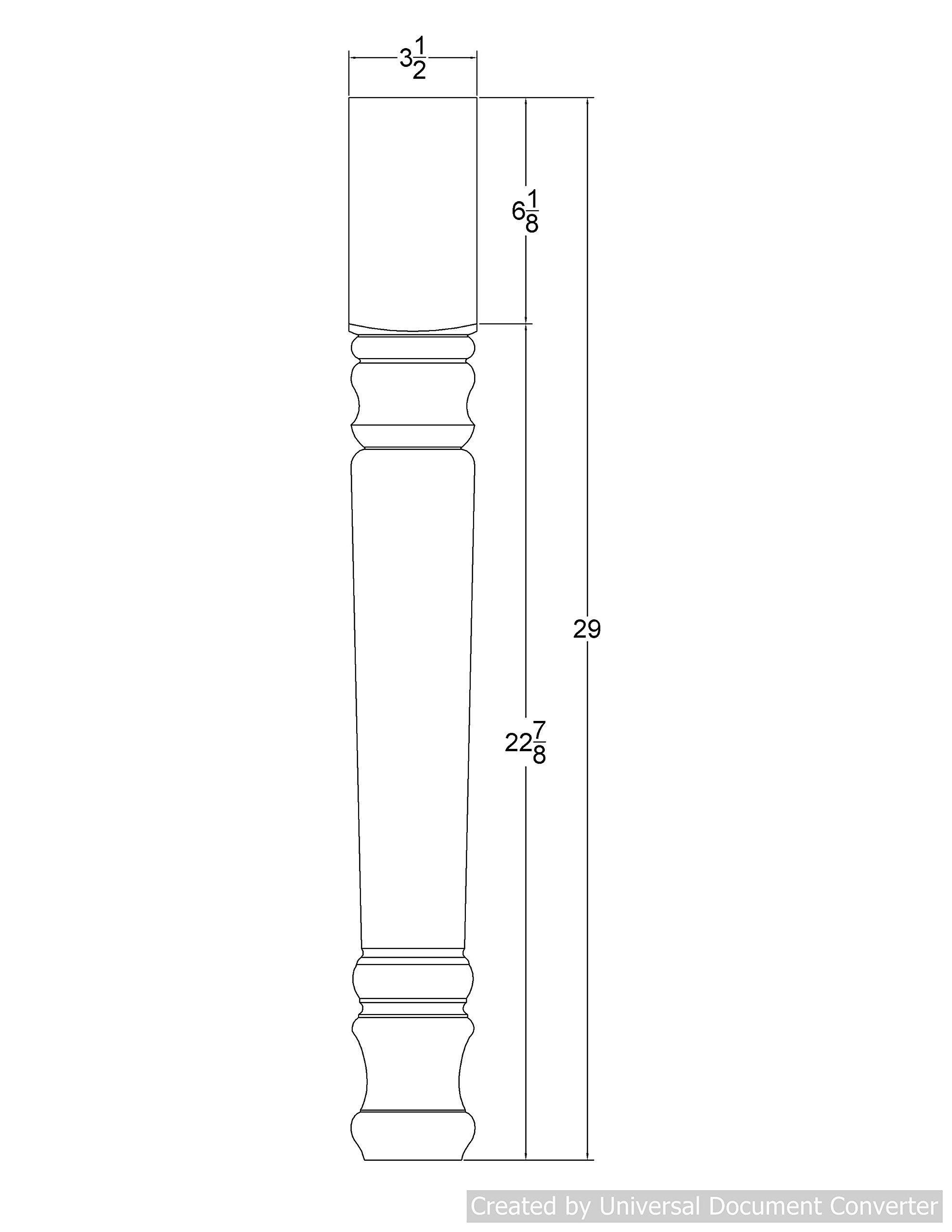 Farmhouse Dining Table Leg - 29'' Tall x 3 1/2'' Wide (Pine)