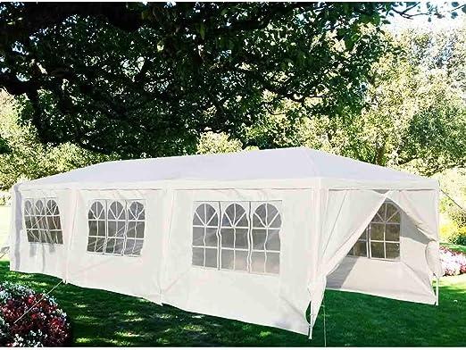 DSRC Tienda al Aire Libre Carpa de jardín Gazebo Boda Canopy Impermeable Toldo Carpa Fiesta al Aire Libre 3X9M, 6 Ventanas, 2 Paredes Laterales: Amazon.es: Hogar