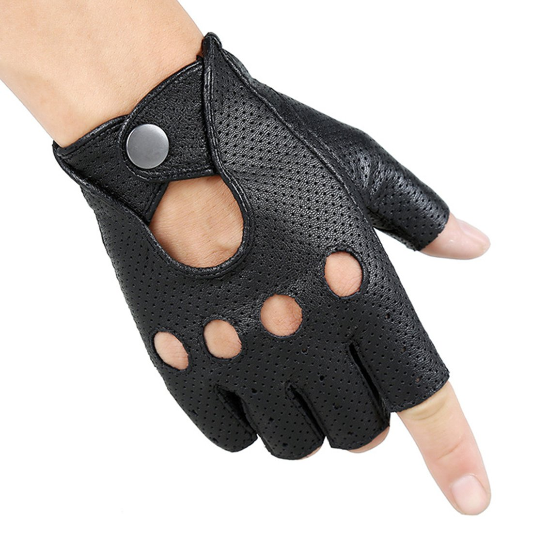 Yingniao Cycling Summer Fingerless Leather Driving Half Finger Fitness Motorcycle Protection Leather Gloves Men M
