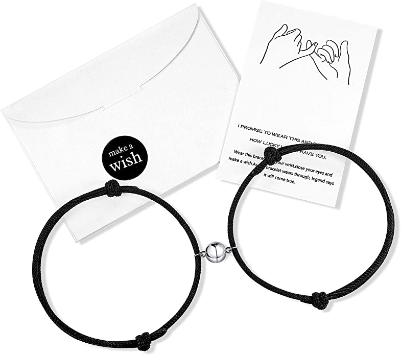yfstyle 4PCS Magnetic Couples Bracelets Love Bracelet for Couples Charm Pendants Bracelet Couples Matching Friendship Rope Bracelet Vows of Eternal Love Bracelet Magnetic Bracelet for Bestfriend