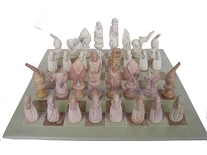 Scacchiere In Pietra.1kn0426 Scacchiera Pietra Saponaria Masai 45x45 Cm