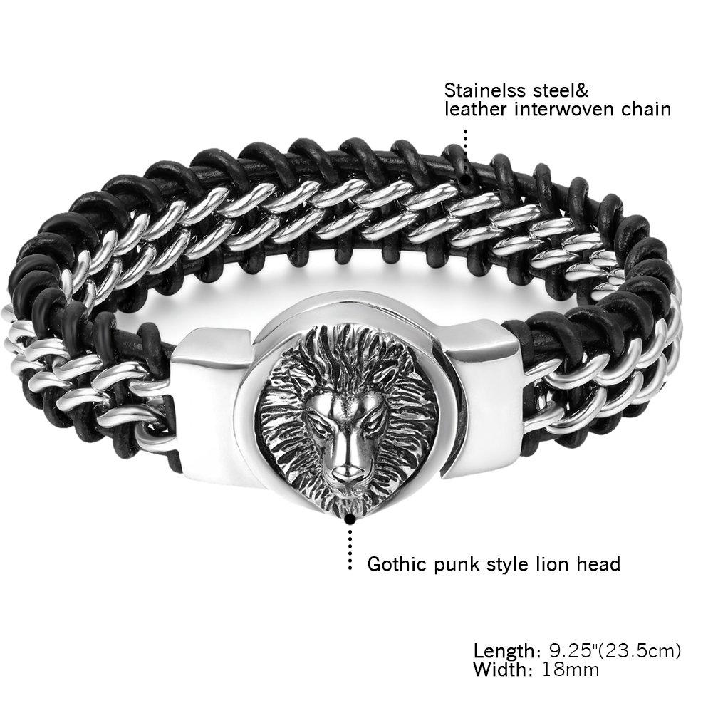 Cupimatch Punk Rock Gothic Herren Elastic Silber Schwarz Edelstahl Verdrehte Kabel Totenkopf Armreif Armband 25cm