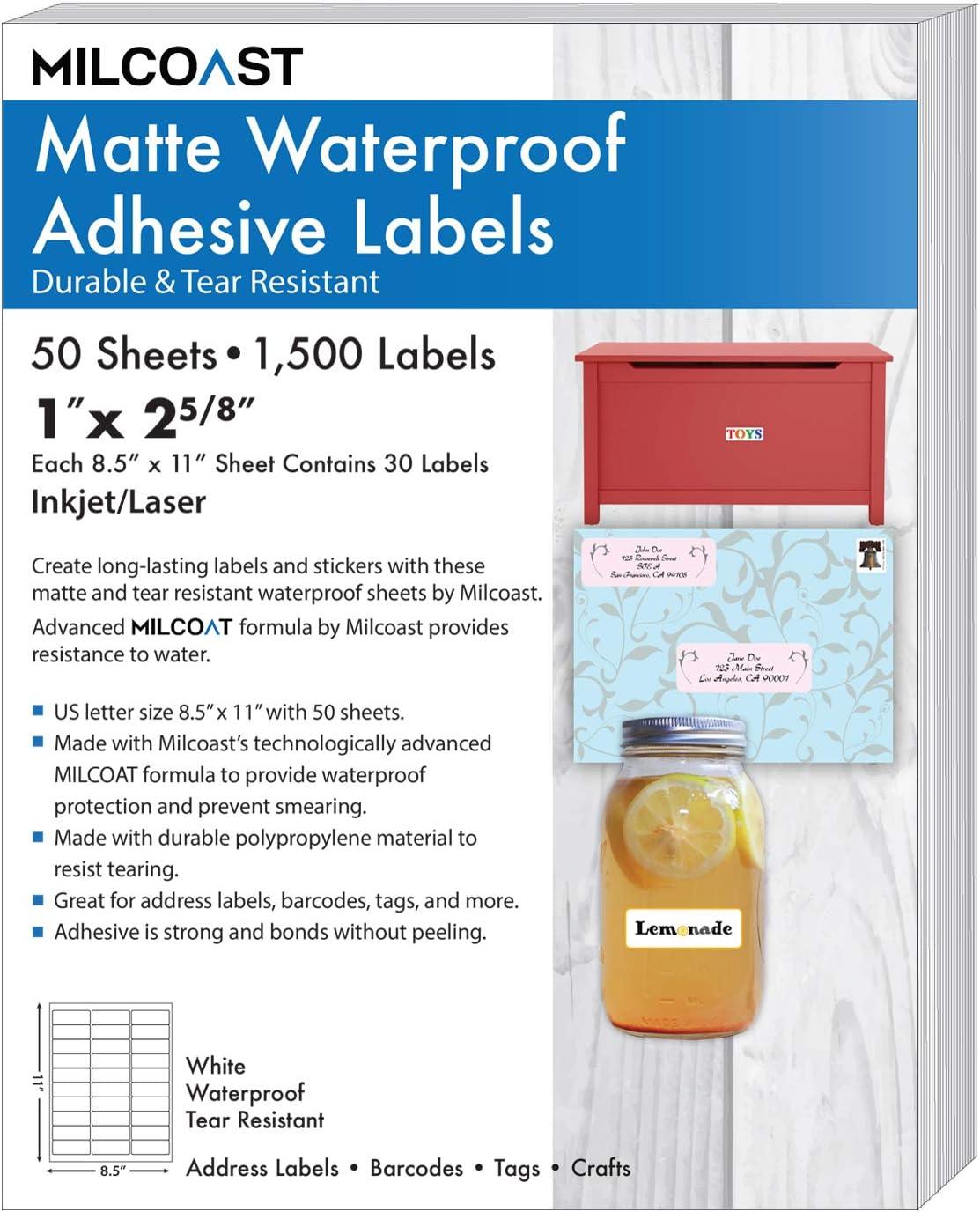 """Milcoast Matte Waterproof Tear Resistant Address Labels 1"""" x 2-5/8"""" for Inkjet/Laser Printers 1500 Labels - 50 Sheets"""