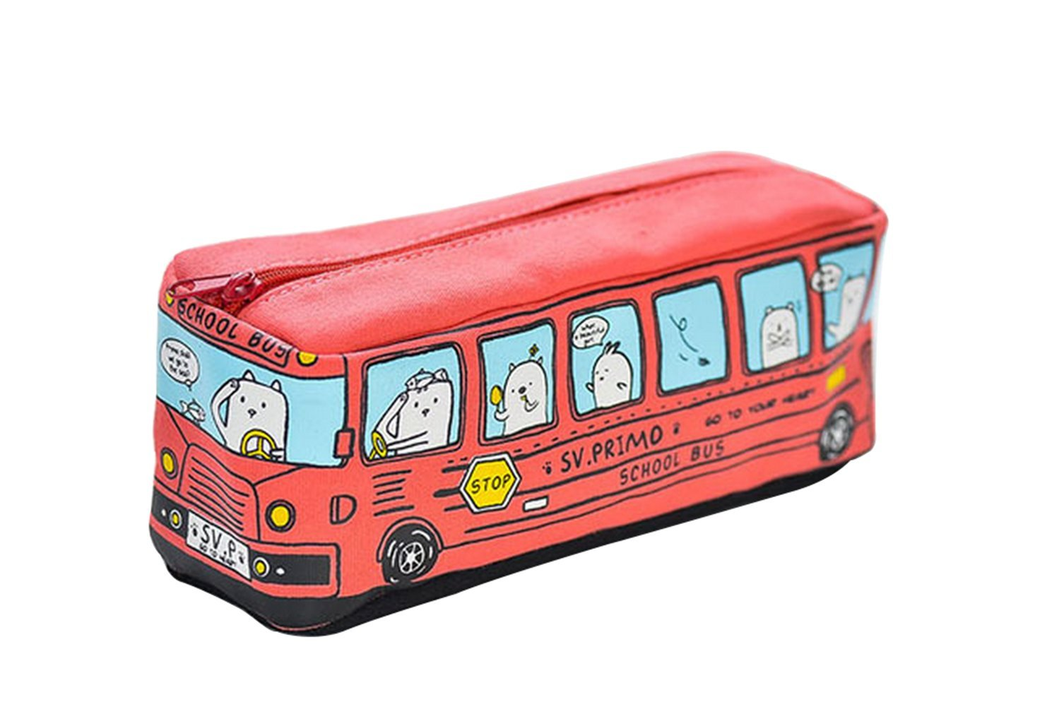 Freedi Cute Creative School Bus Pen Pencil Case Stationery Pouch Large Capacity Canvas Cosmetic Makeup Bag,1 Piece (Red)