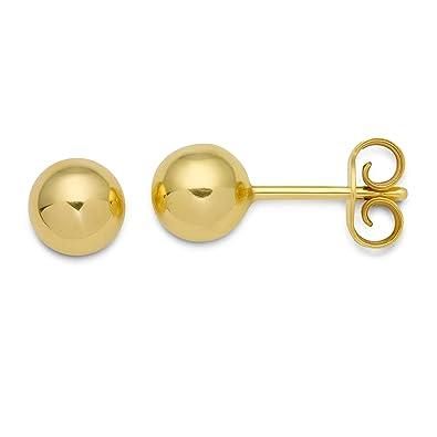 d9cf3fe72 Miore 9ct Yellow Gold Plan Ball Stud Earrings 6mm: Amazon.co.uk: Jewellery