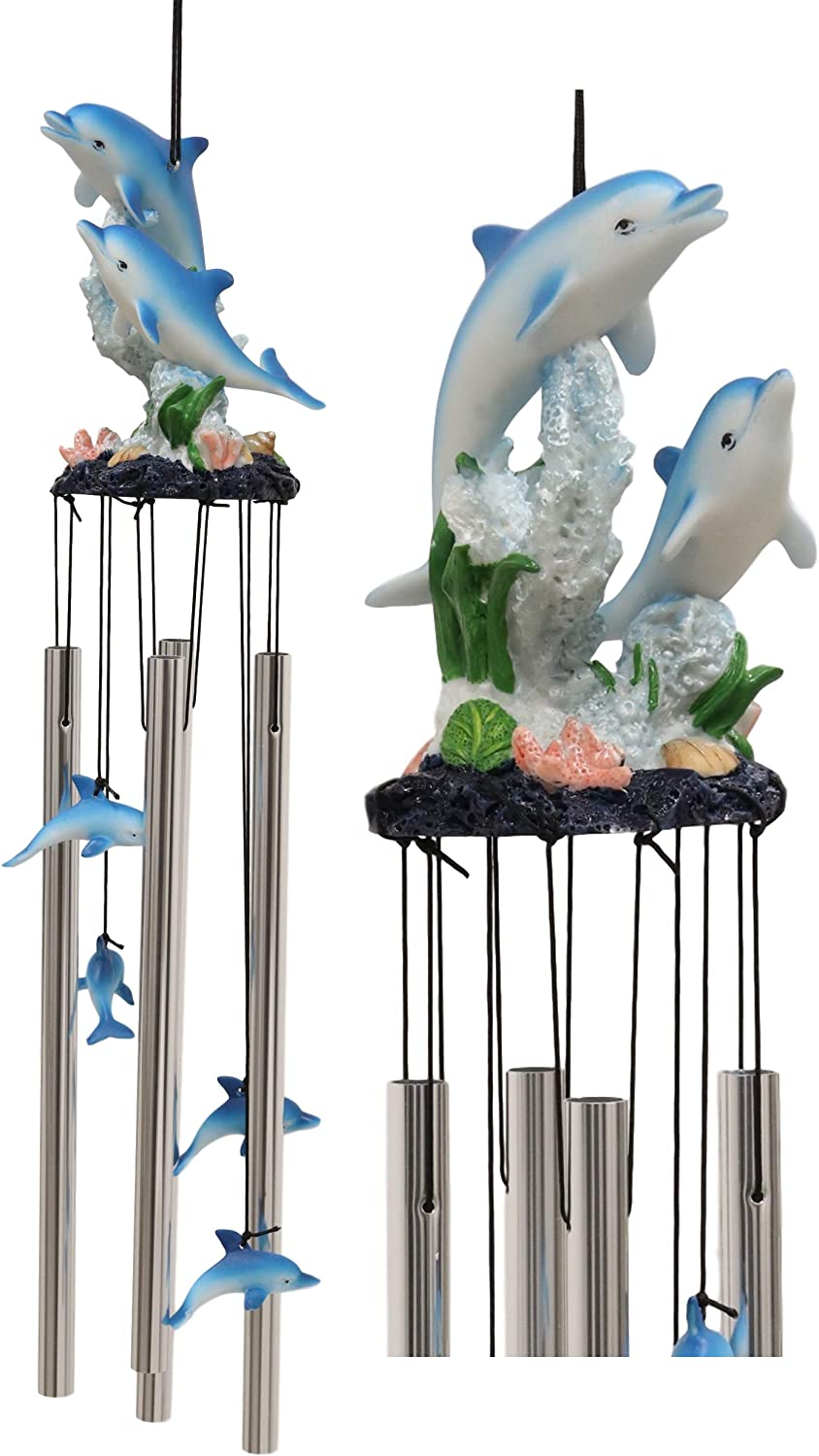 """Ebros Nautical Marine Dolphin Family Swimming by Coral Reef Wind Chime 21"""" Long Resin Crown with Aluminum Rods Home Patio Garden Decor of Dolphins Under The Sea Life Decorative Noisemakers"""