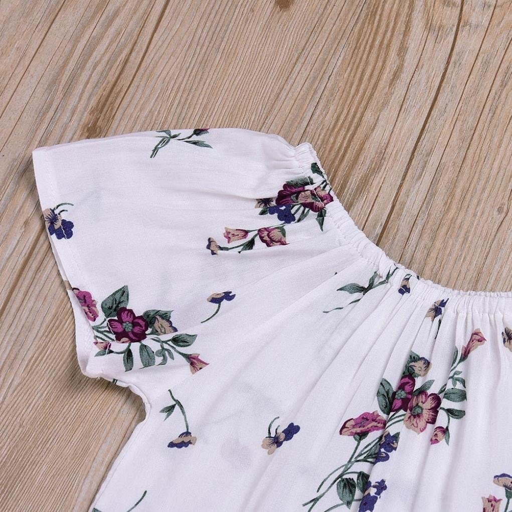 Fartido 2PCS Baby Girls Floral Print Rompers Jumpsuit Strap Skirt Outfits