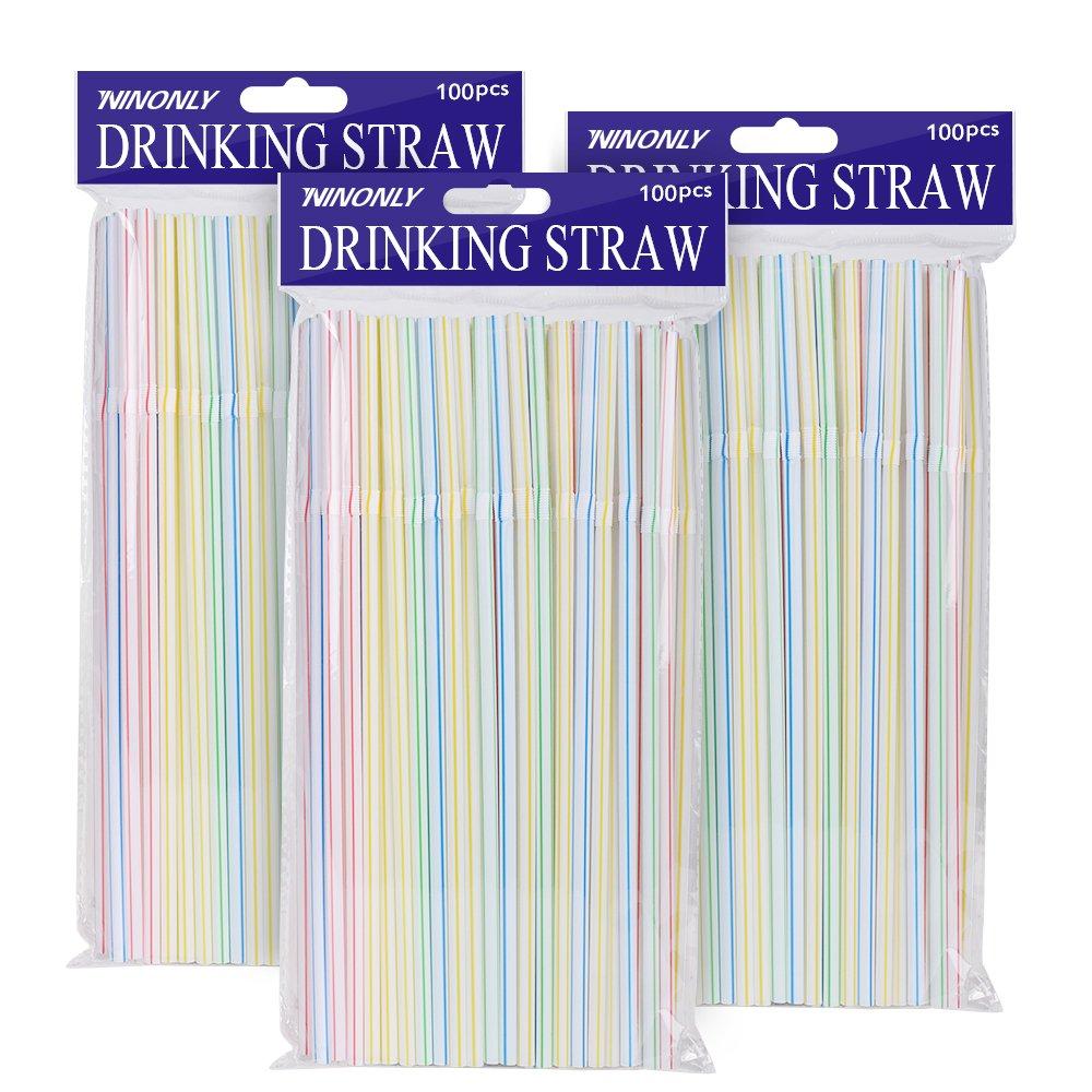 Ninonly Trinkhalme Plastik Ø 0, 5 cm 300 Stück Einweg Strohhalme ohne BPA Flexibel Bulk Strohhalm für Parteien/Bar/Getränke Geschäfte/Zuhause