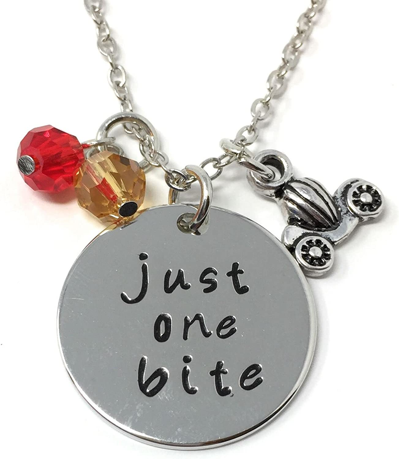 Cadoline Silver-Tone 'Just One Bite' Engraved Pendant Necklace 2.2cm Diameter with 18 Inch Chain Snow White Poison Apple
