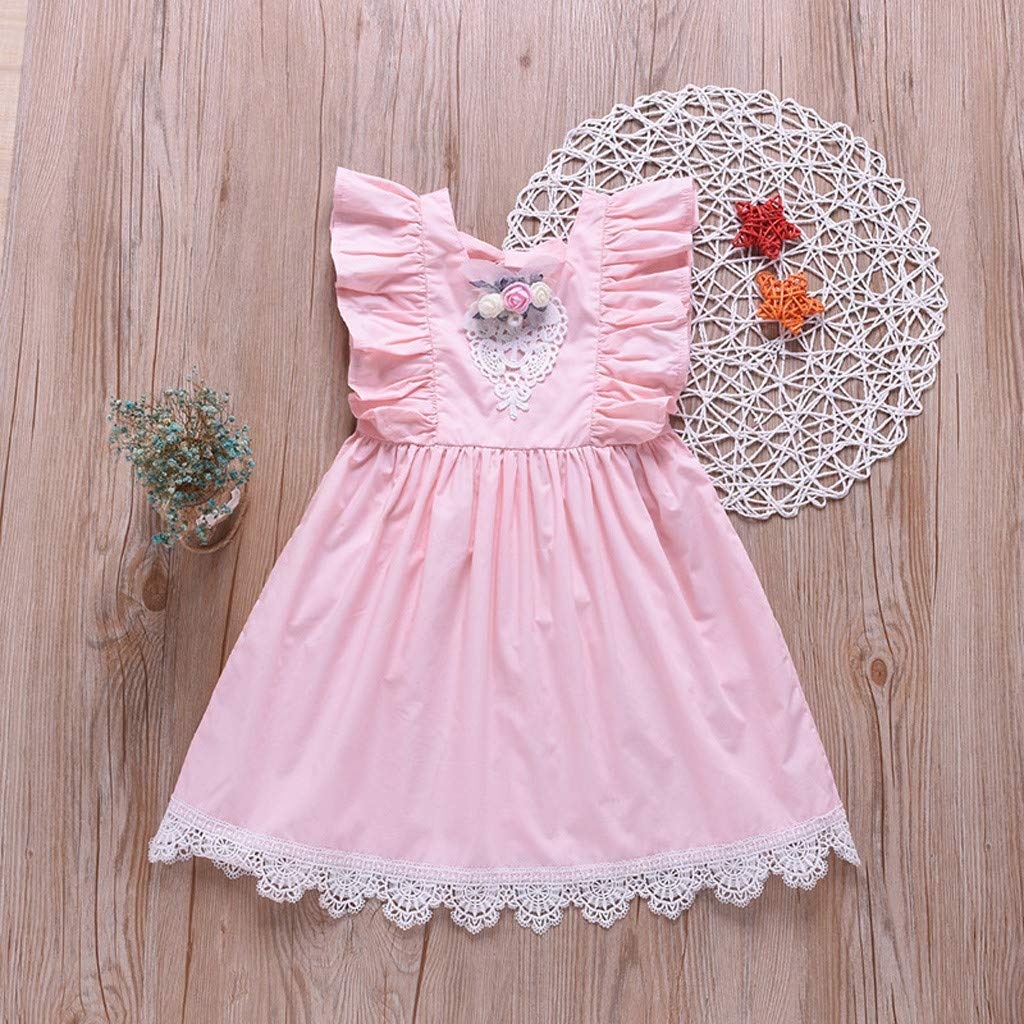 Baby Girls Summer Floral Lace Pleated Sundress Clothes Set Little Princess Tutu Dresses Little Kid Toddler Baby Girl Skirt