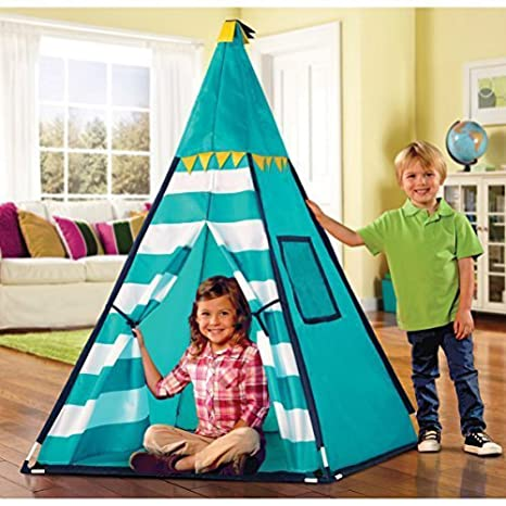 Discovery Kids Turquoise Adventure Teepee Tent  sc 1 st  Amazon.com : discovery kids tent and tunnel - memphite.com