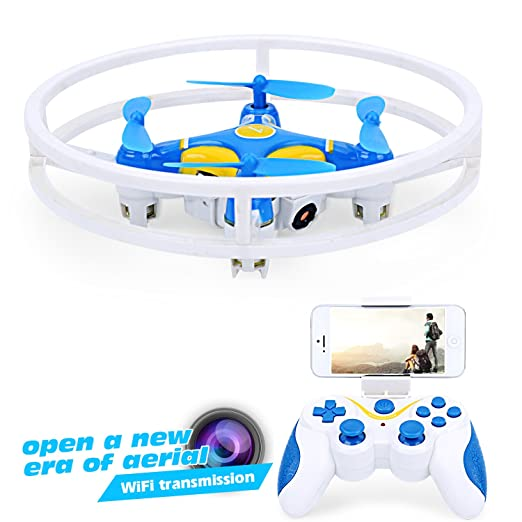 Dwi Dowellin Mini Drone With HD FPV Wifi Camera Live Video With Altitude Hold 2.4Ghz 4CH 6-Axis Gyro Anti-collision RC Quadcopter UFO Aircraft For Beginners D1 Blue