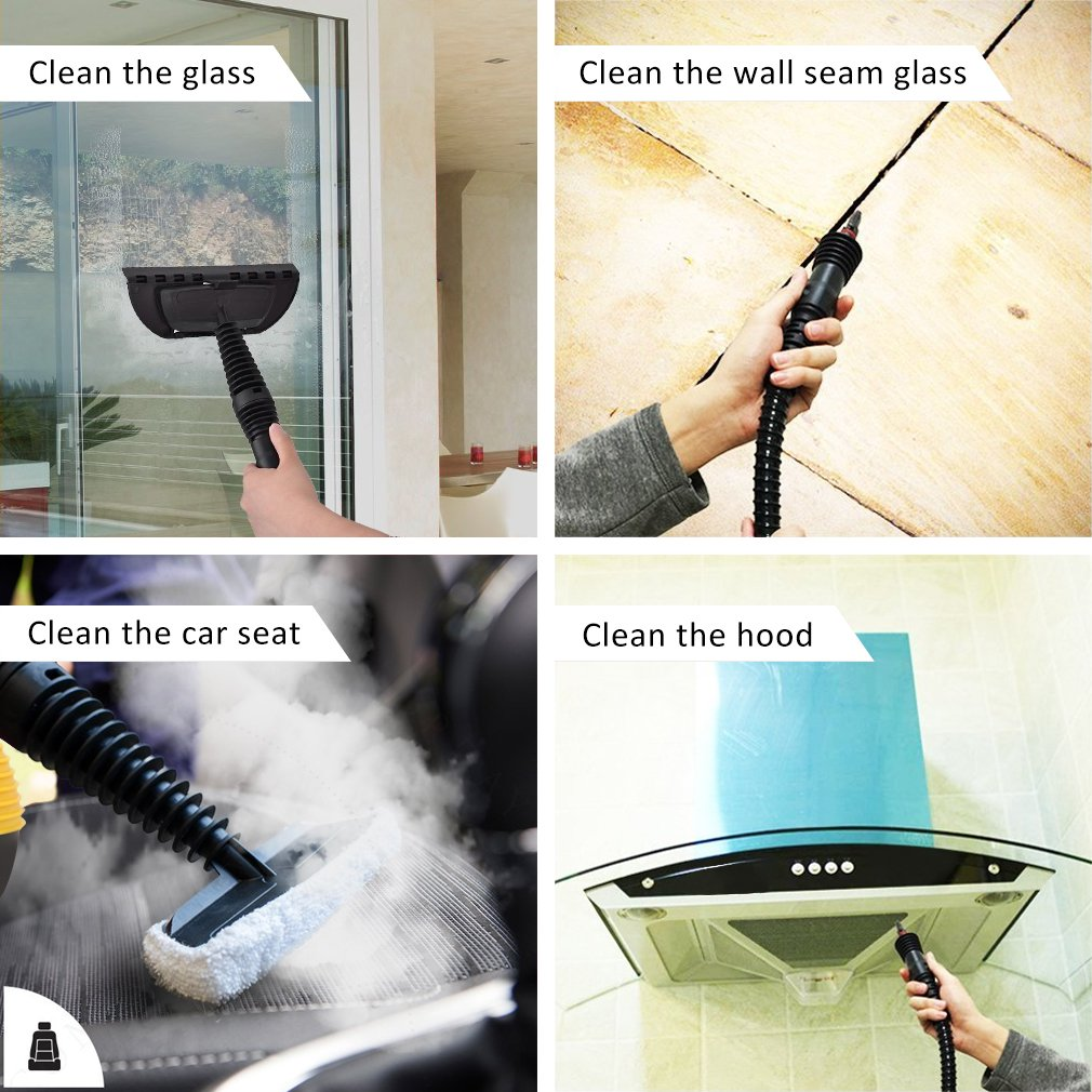 Comforday multiusos de mano limpiador de vapor a presión con juego de 9 accesorios para eliminar manchas, alfombras, cortinas, cama Bug Control, ...