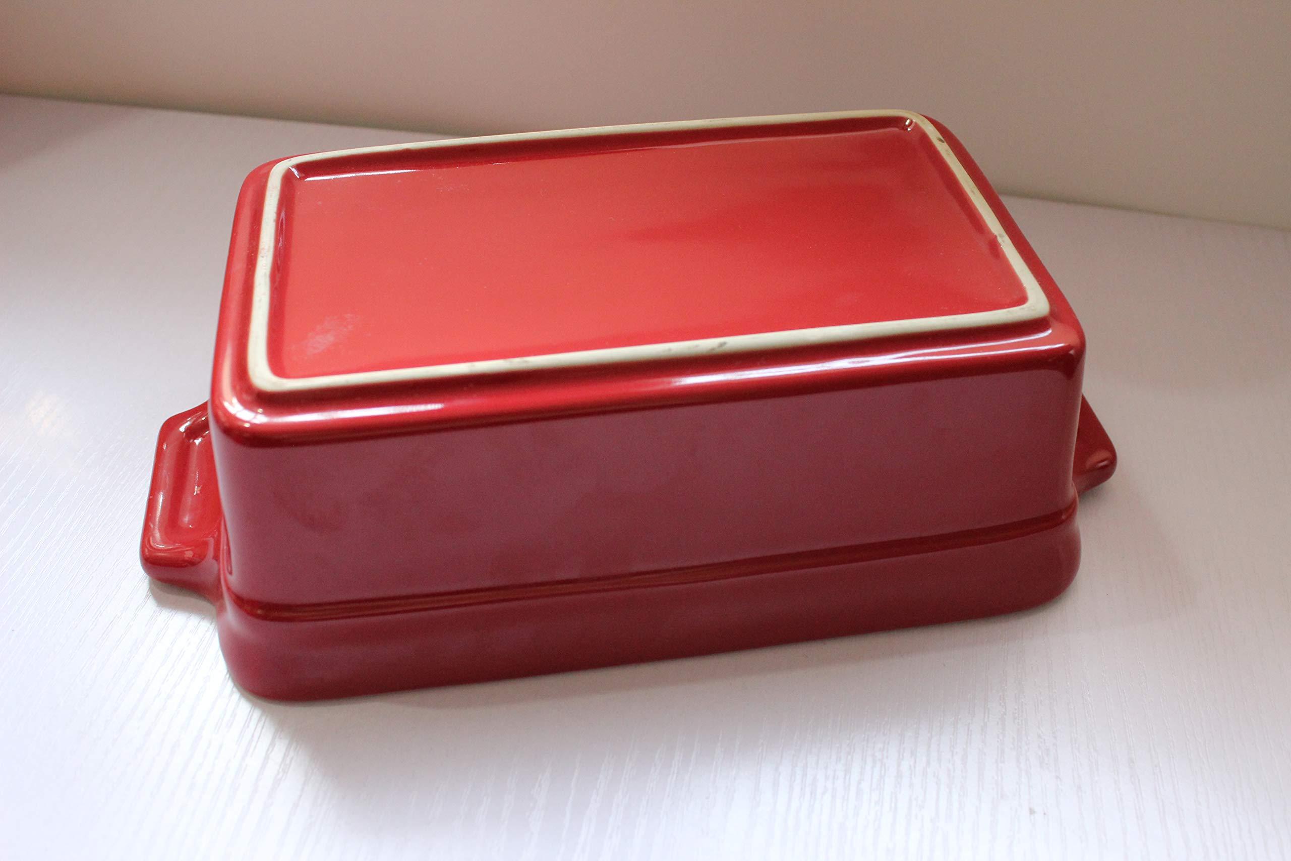 Lonovel Rectangular Baking Dish Roasting Lasagna Pan,11.5-Inch Classic Stoneware Ceramic Large Rectangular Bakers,Red by Lonovel (Image #3)