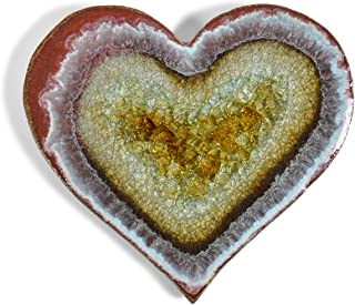 product image for Dock 6 Pottery Heart Ceramic Tile Coaster with Fused Glass, Red