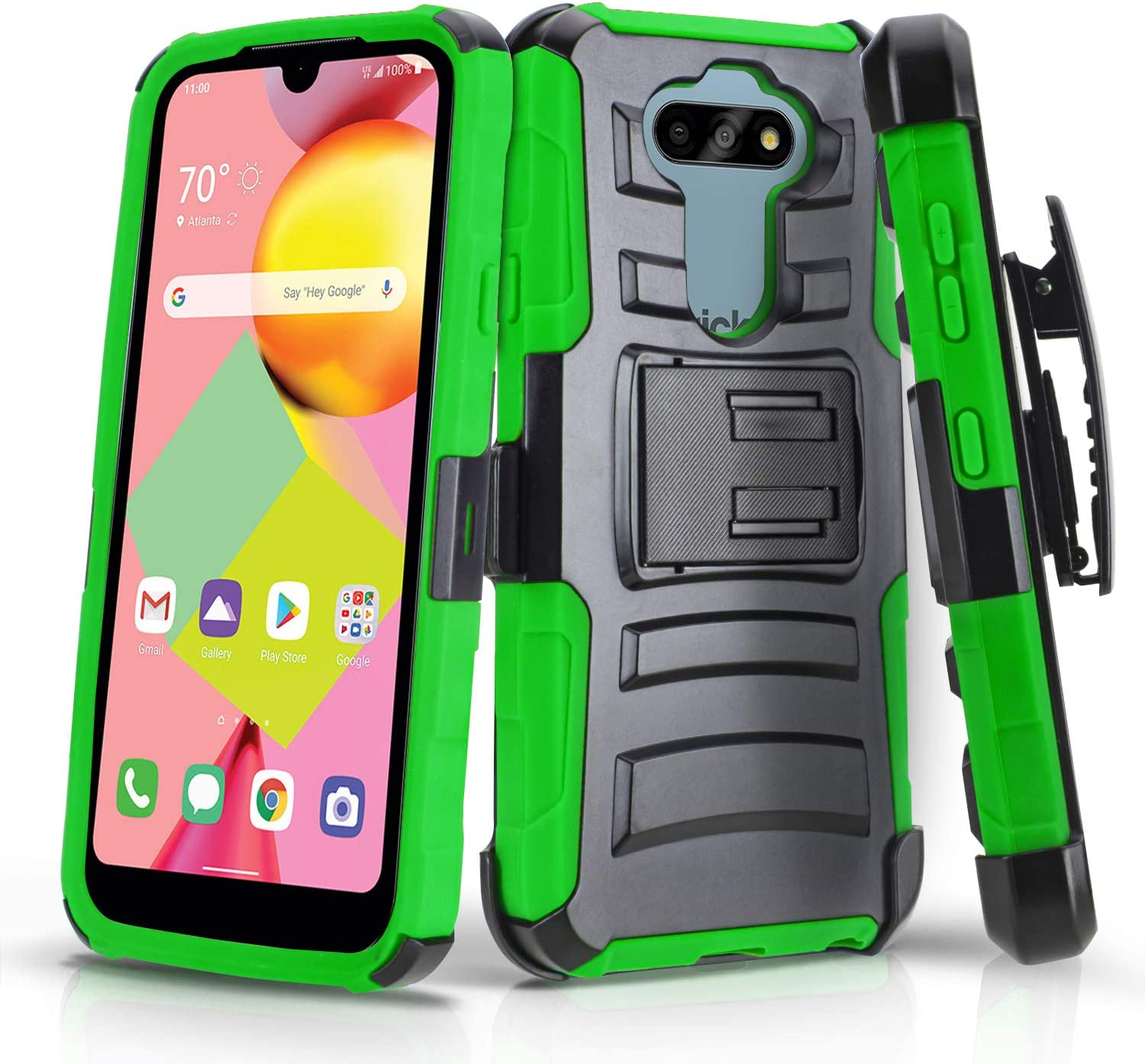 CasemartUSA Phone Case for [LG Risio 4 (Cricket Wireless)], [Refined Series][Green] Shockproof Protective Cover with Built-in Kickstand & Swivel Belt Clip Holster for LG Risio 4 (Cricket Wireless)