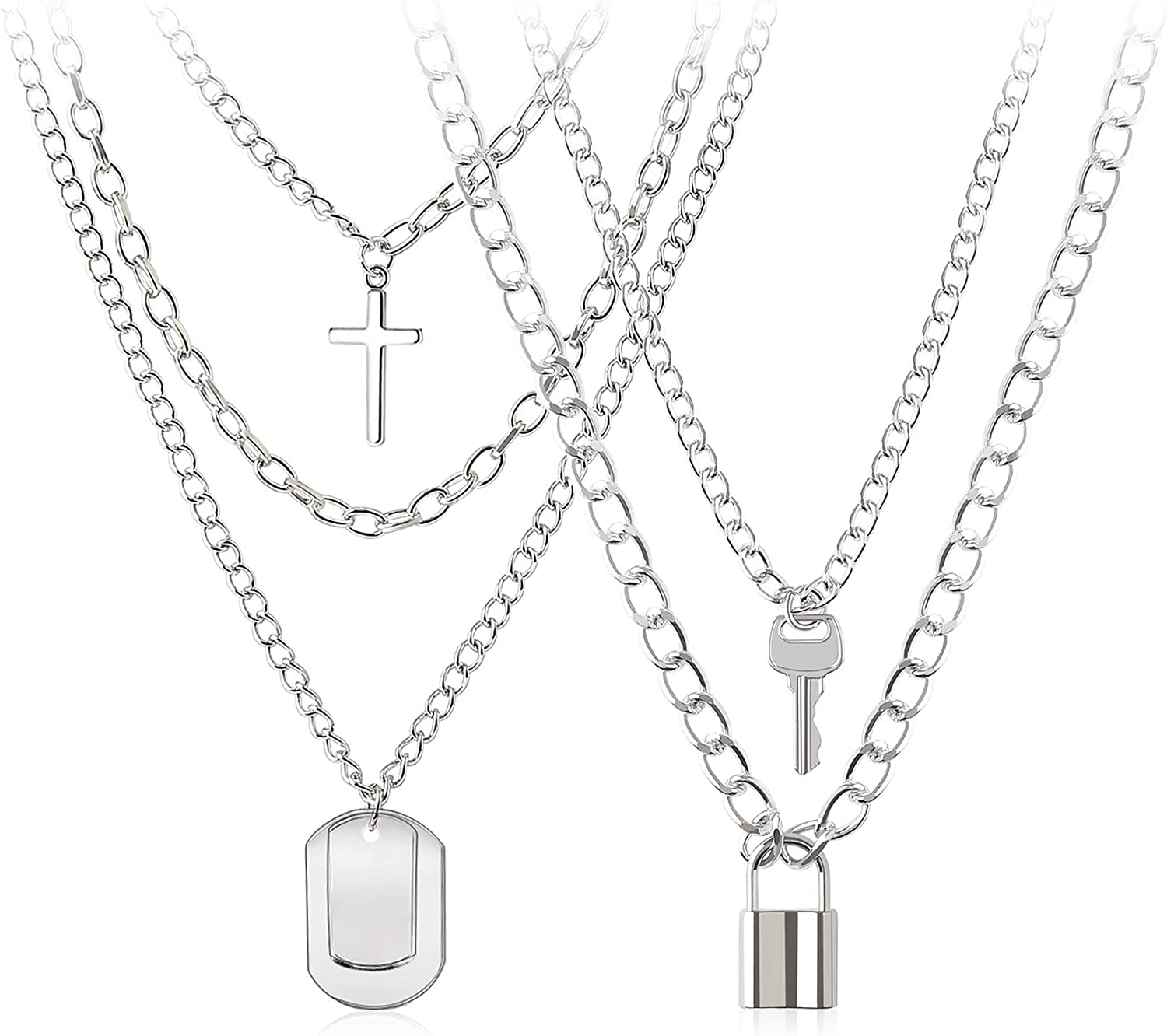 Lock Necklace Key Pendant Multilayer Chain Stainless Steel Choker Padlock Necklaces for Girls Boys Women
