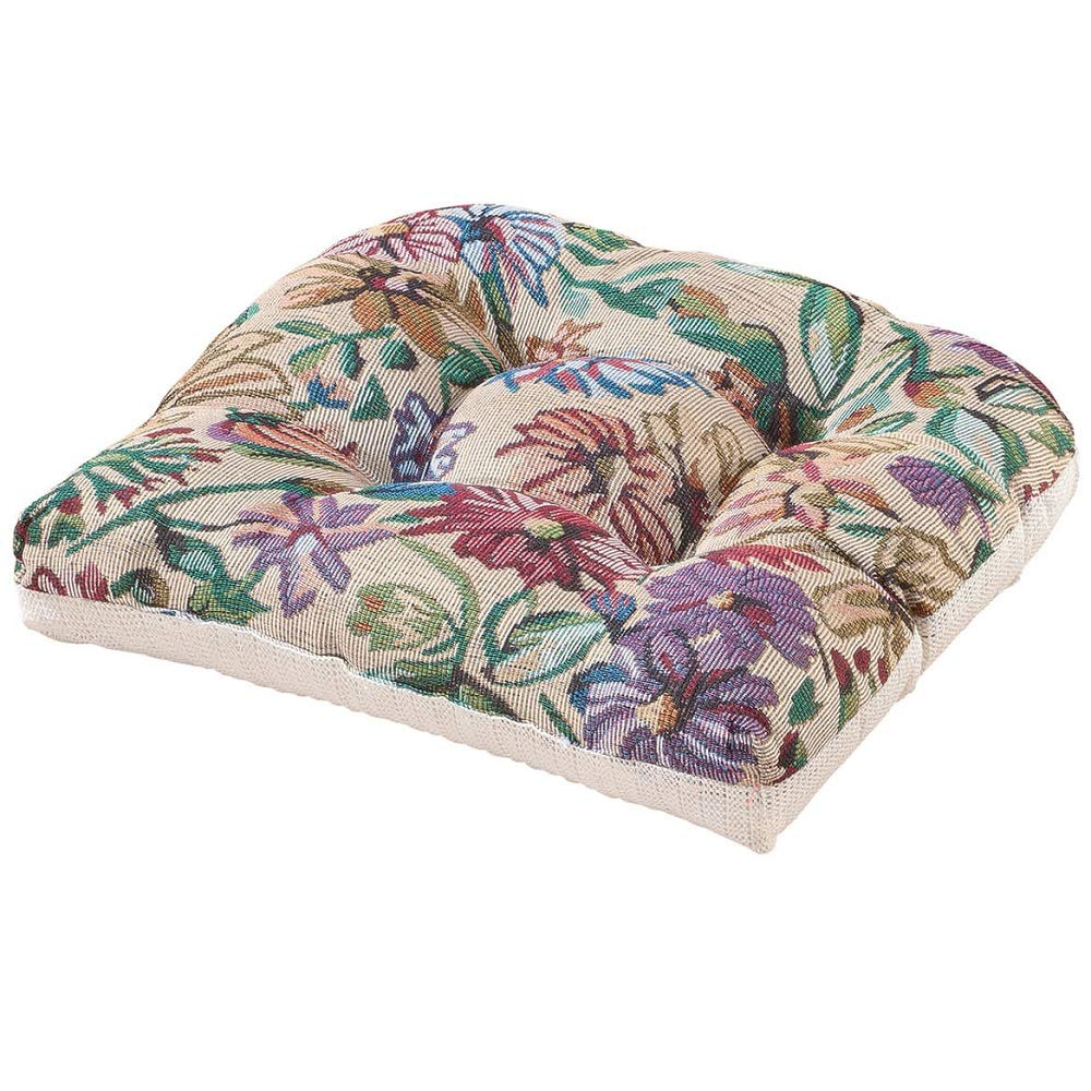 MS Home Floral Inspired Design Cushion Tufted Polyester Chair Pad - Slip-Resistant, Soft-Colors, Spot-Clean - 14'' L x 15'' W x 3.5'' H