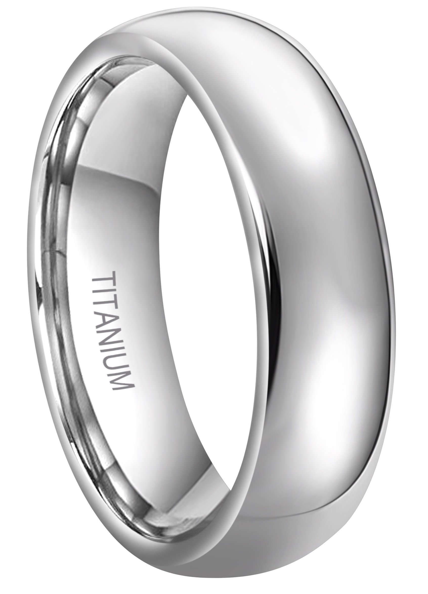 RoyalKay 4mm 6mm 8mm Titanium Wedding Band Ring Men Women Plain Dome Rounded High Polished Comfort Fit Size 4 To 16 (6mm,10)