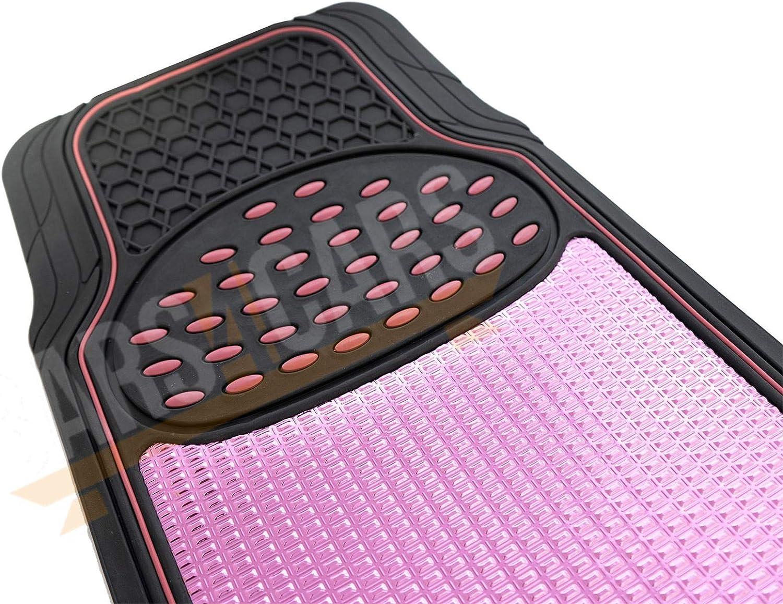 UKB4C Shiney Pink Metallic Checker Style Car Heavy Duty Black Rubber Set of 4 Mats Set