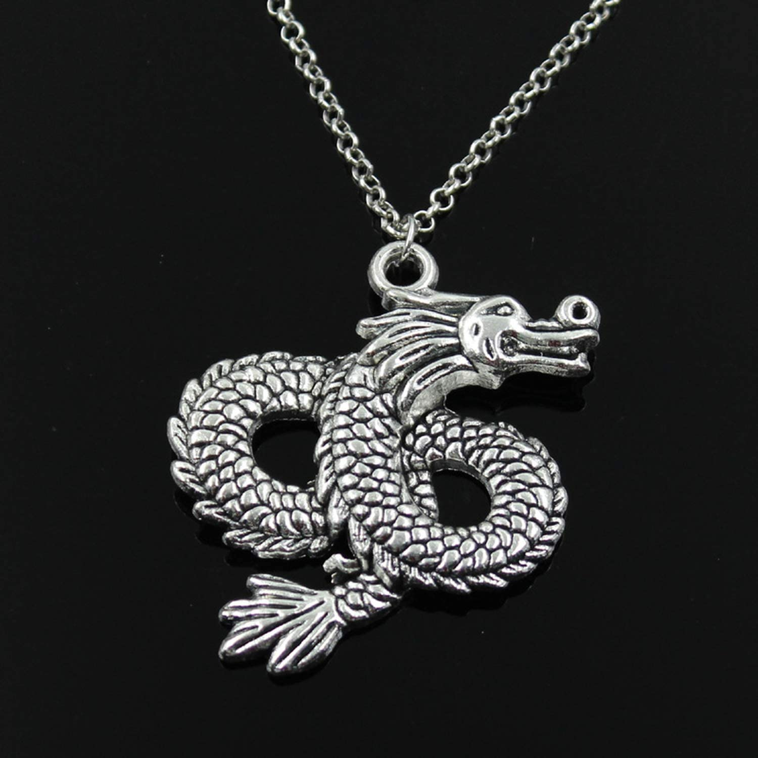 Fairy1 Fashion Loong Dragon Pendants Round Cross Chain Short Long Mens Womens Silver Necklace Jewelry Gift,Round Chain,50cm Length