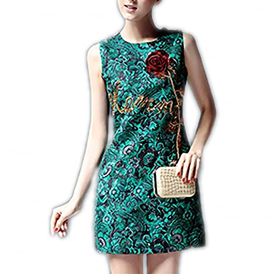 Venetia Morton Fashion Green Dress Runway Designer Summer Womens Sleeveless Tank Gold Sequin Appliques Jacquard Dress