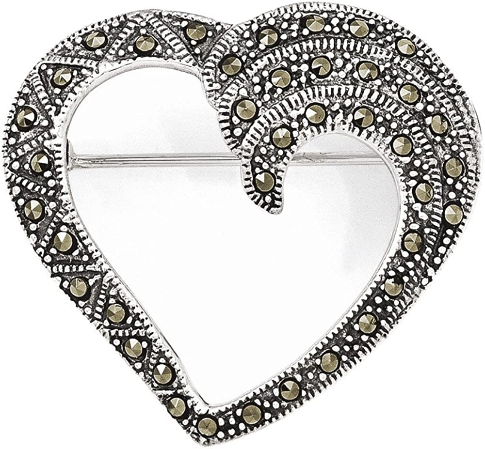 Jewelry Adviser Tie Pins Sterling Silver Marcasite Heart Pin