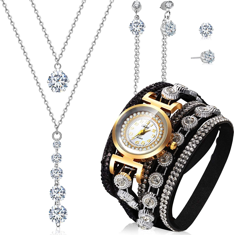 Hicarer 4 Piezas Pulseras de Envolver Retro Juego de Pendientes Collar de Diamante de Imitación de Reloj de Cuarzo Colgante Aretes de Mujeres
