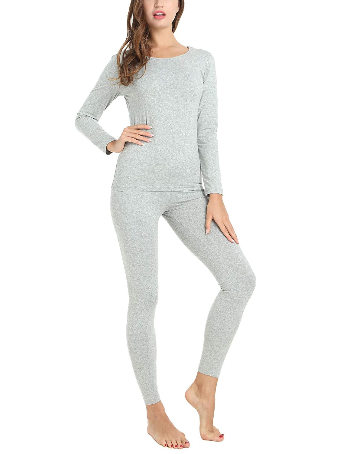 Amorbella Thermal Underwear for Women Cotton Knit Base Layer Long John Set S-XXL