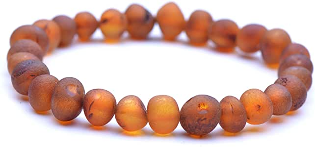 Genuine Amber Unpolished Baroque Bracelet - Natural Amber Jewelry - Baltic Sea Amber Beads Hand-Assembled in Europe - 8.5 Inches - Cognac