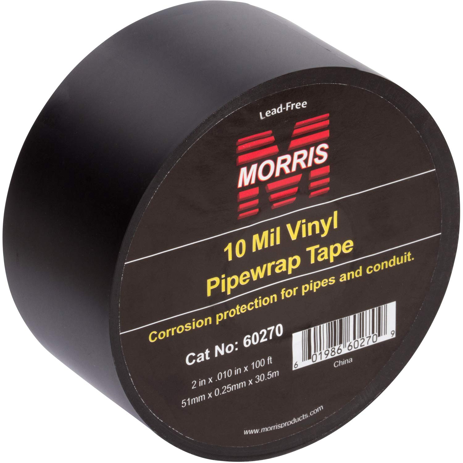"""Morris Products Black Pipe Wrap Tape – 2"""" x 100 Ft x 10 Mil, 2-Inch Width – Self Amalgamating Heavy Gauge, Pressure Sensitive, Vinyl – Protection for Pipes, Conduit, Joints, Valves – Indoor/Outdoor"""