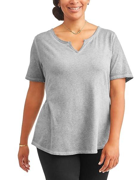 587061d65707 Women's Plus Size Gray Flannel Notch Split Neck Tee - 4X at Amazon Women's  Clothing store: