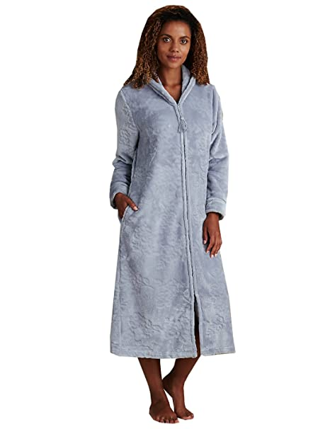 reliable quality new big collection Ladies Marks & Spencer Shimmer Zipped Dressing Gown Silver ...