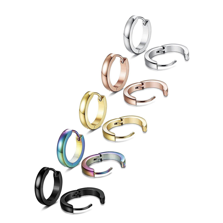 TOPBRIGTH 5 Pairs 316L Surgical Stainless Steel Hoop Earrings for Men Women Small Hoop Huggie Ear Piercings (5 Pairs (5 Color)) by TOPBRIGHT